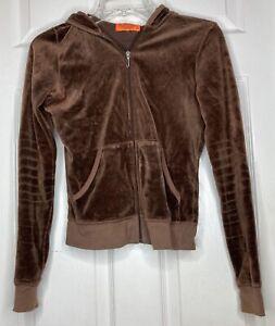 Women Vintage JUICY COUTURE Brown Velour Zip Up Hoodie Sweatshirt XS y2k USA