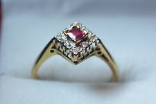 BN 9ct gold ruby and diamond ladies ring square cut ruby illusion set diamonds