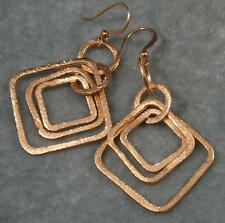"Brushed Solid Copper Triple Square Hoop 1 3/8"" Graduated Earrings 2 1/2"" long"