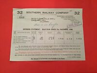 Southern Railway Company London 1938 Dividend Statement receipt R35613