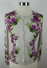 Talbots Womens Silk Camel Hair LS Button Down Beige Floral Cardigan Sweater PS