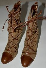 Emanuel Ungaro Lace Up Brown Suede Ankle Boots sz 8