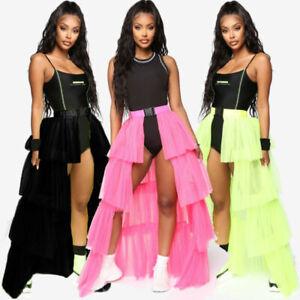Women Tutu Skirt Bustle Layer Tulle Burlesque Petticoat Mini Long Party Dress UK