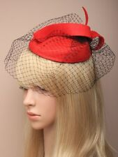 Red Felt Pill Box Net Hatinator Hat Fascinator Ladies Day Weddings Races