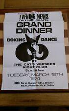 1974 Grand Dinner Boxing Dance ORIGINAL Poster 46CM X 34CM  Cat's Whisker Club