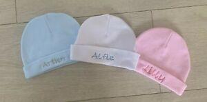 Personalised Baby newborn Hat Beanie Cotton 0-3 Months Pink Blue White gift