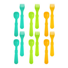 RE-PLAY Made in The USA 12pk Fork and Spoon Utensil Set for Easy Baby, Toddler,