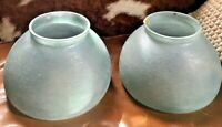 Matching Pair CW Vianne Made in France Marbled Glass Lamp Shades Art Deco