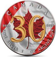 Kanada 5 Dollar 2018 Silbermünze 30 Jahre Maple Leaf Prägefrisch in Farbe