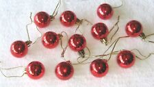 Miniature Ornaments Balls Red Christmas Shatterproof Shiny, Feather Wire Tree