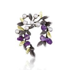 Women Ladies Purple Stone Simulate Pearl Flower Branch Brooch Pin Jewelry S