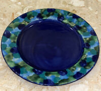 "Kenya Blue Green Camo Ceramic Decorative Plate 11.25"" Signed Kia Zuri"