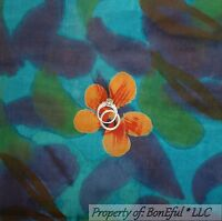 BonEful Fabric FQ Cotton Quilt Blue Navy Batik Flower Watercolor Tropical Island