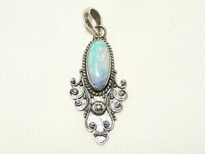 """OPAL PENDANT """"BLUE / GREEN"""" 925 STERLING SILVER """"NEW"""" AUZ MADE SP06"""