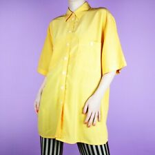 VINTAGE 80s 90s Womens Yellow Grunge Silk Shirt Pastel Oversize Blouse Top XL
