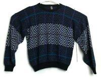 Vintage Buckingham Sport Plaid Geometric Blue L Sweater Cosby Biggie Abstract