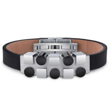 Mens Stainless Steel and Leather Bracelet with Black and Silver Tone Shapes