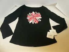 NWT Girls Size 8 Gymboree Black Long Sleeve Tee w/ Pink/Silver Flower