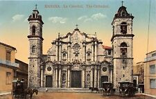 HABANA CUBA~la CATEDRAL~THE CATHEDRAL~CARRIAGE OUTSIDE POSTCARD
