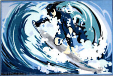 """3x5  Area Rug  Surfing  Dude   High Weave  Surf  Time Surfer  3'3""""x4'10""""  New"""