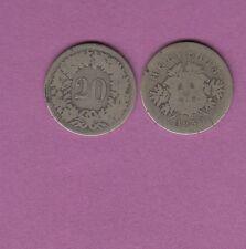 Gertbrolen Suisse  20 rappen en Billon 1850 BB Confédération Helvetica Swiss