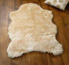 Beige Camel Soft Faux Fur Sheepskin Style Rug 70 x 100cm Washable Decorative