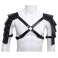 Mens Adjustable Leather Chest Strap Harness Costume with Shoulder Armors Buckles