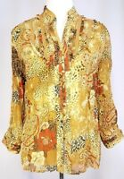 Coldwater Creek Shirt Size M Crinkle Lined Paisley Floral Ruffle Button Down