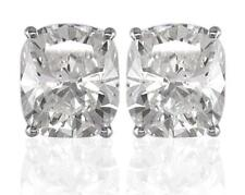 Diamond Solitaire Studs: 1.00ct Certified D IF VG Cushion Cut, in Platinum