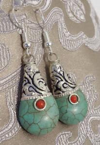 Handgefertigte Türkis Ohrringe mit tibetischem Lotusblütenmuster aus Nepal