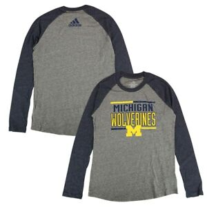 Michigan Wolverines NCAA Girls Grey Bar Stack Dots Raglan LS T-Shirt