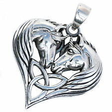 .925 Solid Sterling Silver Magical Unicorn Heart Celtic Triquetra Pendant P071