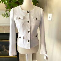 Banana Republic Womens Cropped Blazer Jacket Size 6 White Flap Pocket Cotton