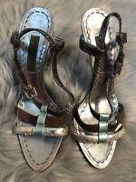 Women's Alberta Ferretti Silver Snakeskin Leather Lucite Heels Sandals 39.5 9.5