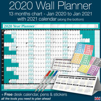 2020 Year Planner Wall Chart ✔Staff ✔Holidays+Stickers+Pens+Desk Calendar ✔TEAL