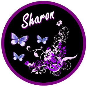 PURPLE/BLUE BUTTERFLY & FLOWER PERSONALISED  CAR TAX DISC HOLDER - NAME REUSABLE