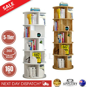 1.6m Wooden 5 Tier Rotating Revolving Book Shelf Bookcase Display Storage Stand