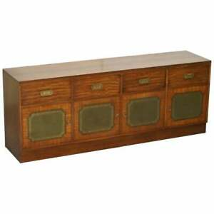 LOVELY HARRODS FLAMED MAHOGANY & GREEN LEATHER MILITARY CAMPAIGN SIDEBOARD