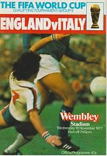 ENGLAND V ITALY ~ WORLD CUP QUALIFIER ~ 16 NOVEMBER 1977 (2) EXCELLENT CONDITION