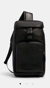 NWT COACH Men's RANGER MINI Sling Pack Crossbody Bag In BLACK Calf Leather$298