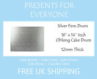 "2 x 16"" x 14"" Inch Oblong Rectangular Wedding Birthday Cake Drum / Board 12mm"