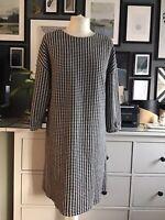 Dogtooth Houndstooth Dress Shift Dress Jersey 12 14 Black White