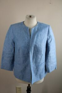Talbots 10P Blue 100% Linen Open Front 3/4 Sleeve Blazer Jacket