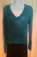 NWT MUDD Size Large Teal Blue Silver METALLIC V-Neck Sparkle Pullover SWEATER