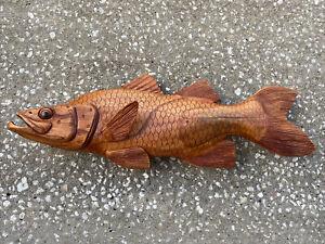 SNOOK  WALL HAND CARVED WOOD ART HOME DECOR FISH TIKI BAR SALTWATER
