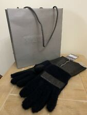 ALEXANDER MCQUEEN LEATHER & NAVY SHEARLING LONGER LENGTH GLOVES SIZE 8 LARGE
