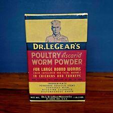 Vintage Dr. LeGear Veterinary Medicine Box Poultry Worm Powder Unopened
