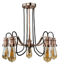 Searchlight Maddox 5 Ceiling Chandelier Light Antique Copper Black Cables 1065-5cu (lamps Not Incl)