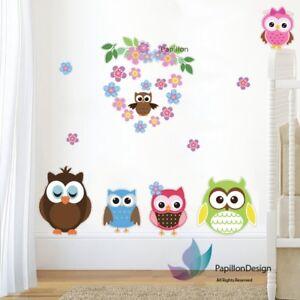 Flower Heart Baby Owl Animals Nursery Girls Boys Kids Bedroom Wall Decal Sticker