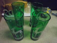 Vintage Four Forest Geen Tumblers with Gazelle Impala